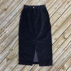 VINTAGE 80s Black Corduroy Midi Skirt